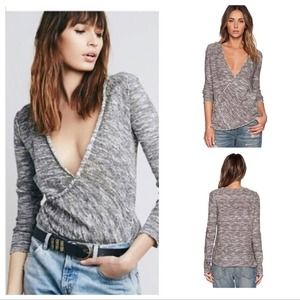Free People Gotham Faux Wrap Gray Sweater Size S